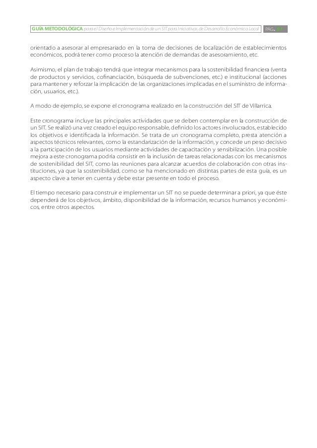 GUÍA METODOLÓGICA para el Diseño e Implementación de un SIT para Iniciativas de Desarrollo Económico Local   PÁG. 81orient...