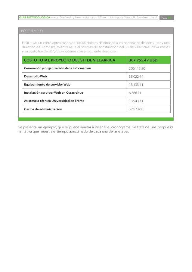 GUÍA METODOLÓGICA para el Diseño e Implementación de un SIT para Iniciativas de Desarrollo Económico Local   PÁG. 83 POR E...