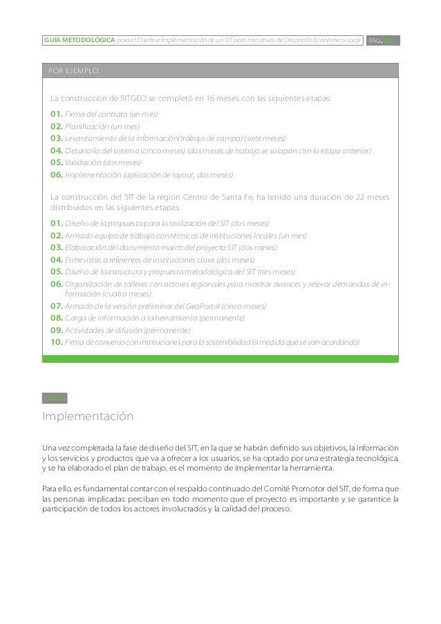 GUÍA METODOLÓGICA para el Diseño e Implementación de un SIT para Iniciativas de Desarrollo Económico Local   PÁG. 85 POR E...