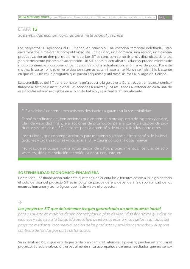 GUÍA METODOLÓGICA para el Diseño e Implementación de un SIT para Iniciativas de Desarrollo Económico Local   PÁG. 95ETAPA ...