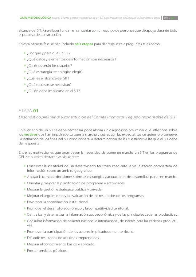 GUÍA METODOLÓGICA para el Diseño e Implementación de un SIT para Iniciativas de Desarrollo Económico Local   PÁG. 61alcanc...