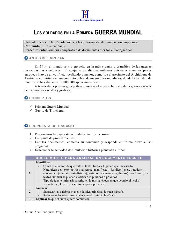 www.historia1imagen.cl          LOS SOLDADOS EN LA PRIMERA GUERRA MUNDIAL Unidad: La era de las Revoluciones y la conforma...
