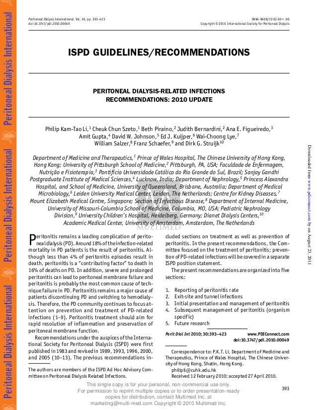 Peritoneal Dialysis International, Vol. 30, pp. 393–423 doi:10.3747/pdi.2010.00049 0896-8608/10 $3.00 + .00 Copyright © 20...