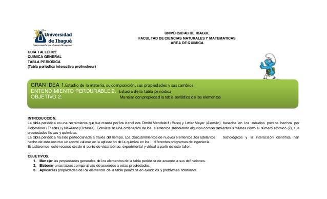 UNIVERSIDAD DE IBAGUE FACULTAD DE CIENCIAS NATURALES Y MATEMATICAS AREA DE QUIMICA GUIA TALLER 02 QUIMICA GENERAL TABLA PE...