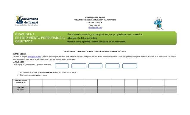 UNIVERSIDAD DE IBAGUE FACULTAD DE CIENCIAS NATURALES Y MATEMATICAS AREA DE QUIMICA Guía Taller 03 (www.ptable.com) PROPIED...
