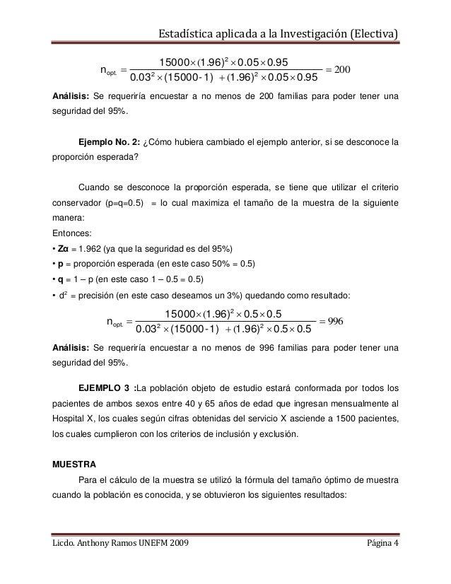Estadística aplicada a la Investigación (Electiva) nopt.  15000 (1.96)2  0.05  0.95   200 0.03 2  (15000 - 1)  (1.9...