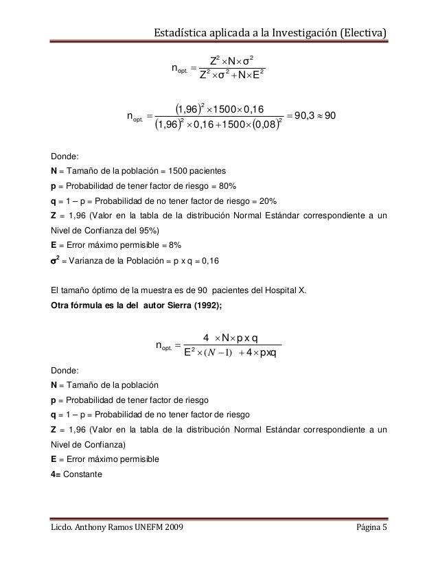 Estadística aplicada a la Investigación (Electiva) Z2  N  σ 2 nopt.  2 Z  σ 2  N  E2  1,962  1500  0,16 nopt.  ...
