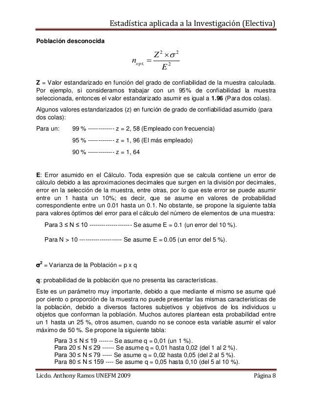 Estadística aplicada a la Investigación (Electiva) Población desconocida  nopt.  Z 2  2  E2  Z = Valor estandarizado en...