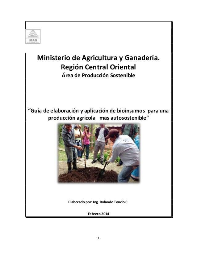 """1 Ministerio de Agricultura y Ganadería. Región Central Oriental Área de Producción Sostenible """"Guía de elaboración y apli..."""