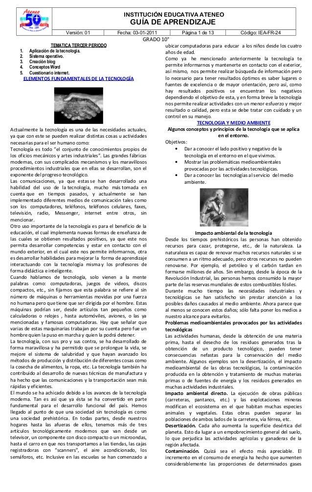 INSTITUCIÓN EDUCATIVA ATENEO GUÍA DE APRENDIZAJE Versión: 01 Fecha: 03-01-2011 Página 1 de 13 Código: IEA-FR-24 GRADO 10° ...