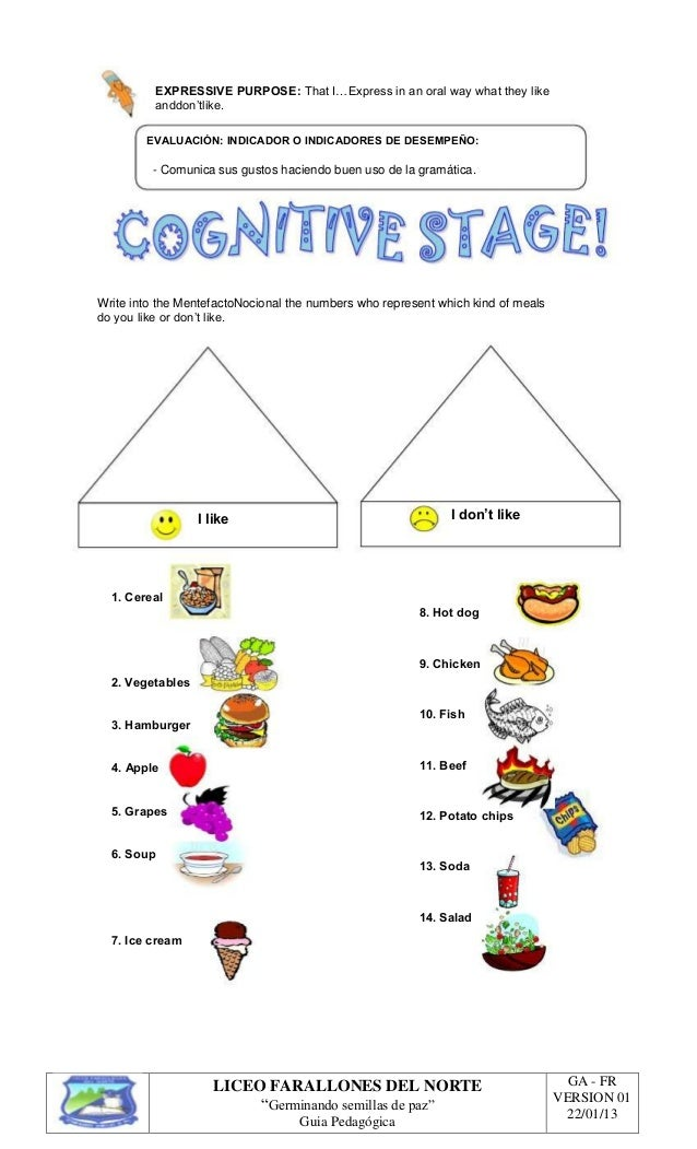 Guia Tercer Periodo Parte 1 on Kindergarten Worksheet Vegetable Salad