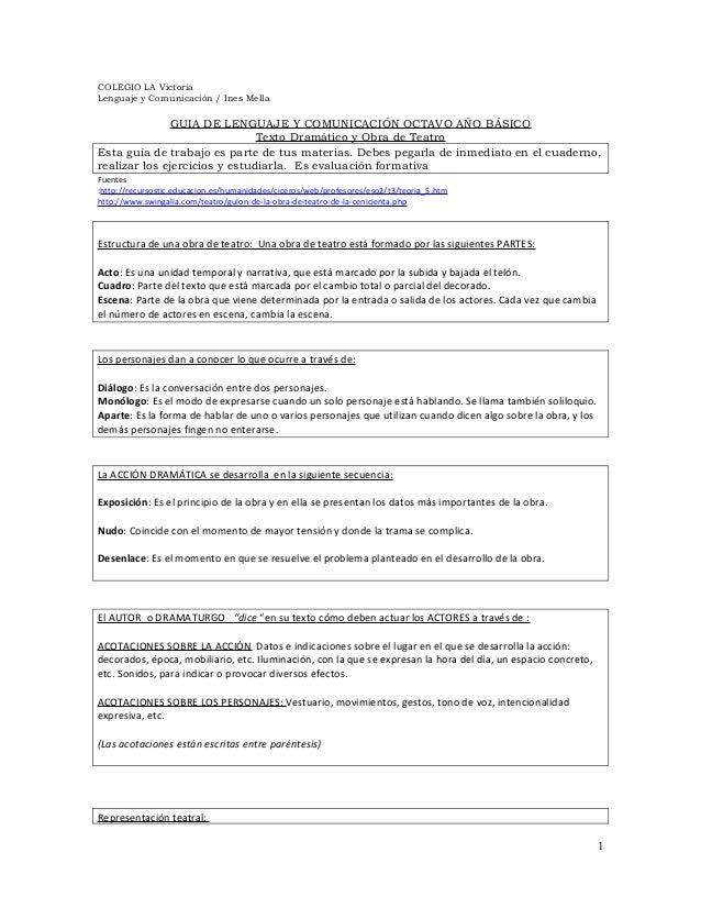 COLEGIO LA Victoria Lenguaje y Comunicación / Ines Mella GUIA DE LENGUAJE Y COMUNICACIÓN OCTAVO AÑO BÁSICO Texto Dramático...