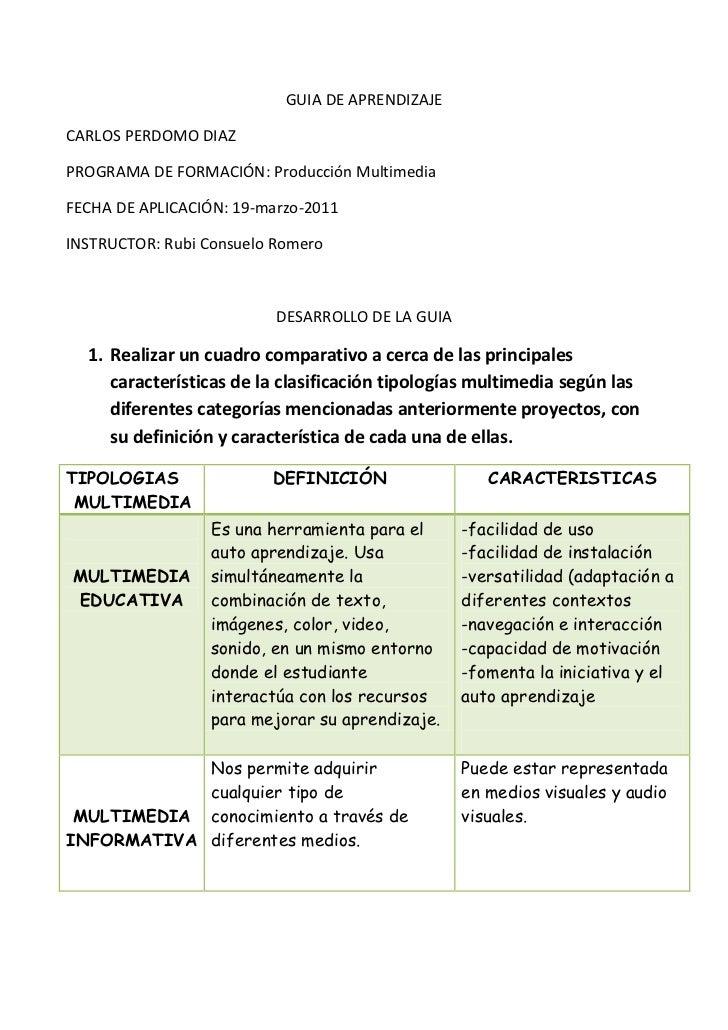 GUIA DE APRENDIZAJE<br />CARLOS PERDOMO DIAZ<br />PROGRAMA DE FORMACIÓN: Producción Multimedia<br />FECHA DE APLICACIÓN: 1...