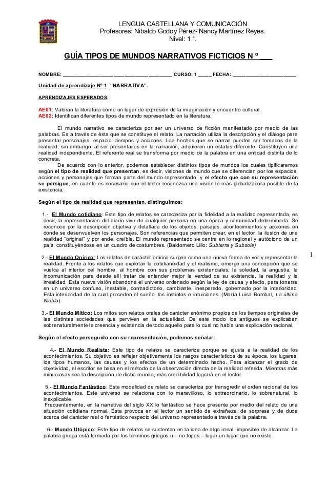 LENGUA CASTELLANA Y COMUNICACIÓN Profesores: Nibaldo Godoy Pérez- Nancy Martínez Reyes. Nivel: 1 °. 1 GUÍA TIPOS DE MUNDOS...