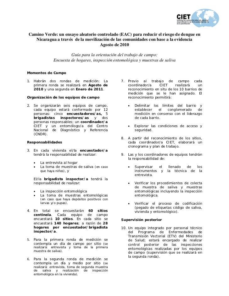 Camino Verde: un ensayo aleatorio controlado (EAC) para reducir el riesgo de dengue en    Nicaragua a través de la moviliz...