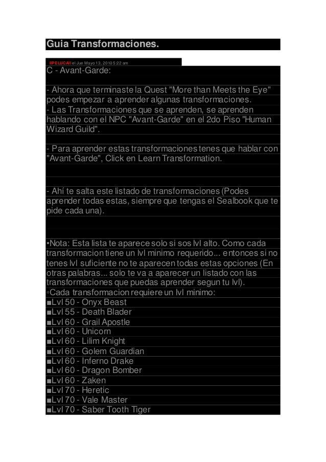 """Guia Transformaciones. IIPELUCAII el Jue Mayo 13, 20105:22 am C - Avant-Garde: - Ahora que terminaste la Quest """"More than ..."""