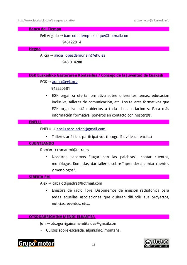 http://www.facebook.com/truequeasociativo grupomotor@elkarteak.infoBanco del TiempoFeli Angulo → bancodeltiempotrueque@hot...
