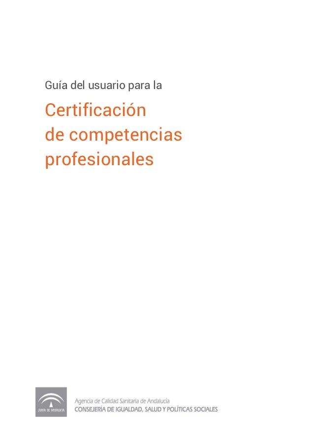del usuario para la Certificación de competencias profesionales