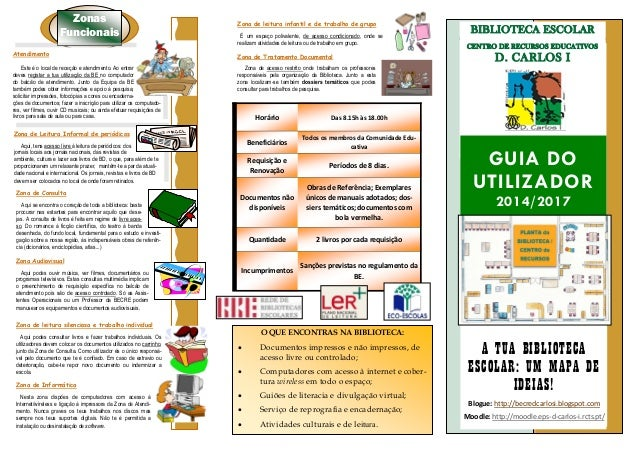 BIBLIOTECA ESCOLAR CENTRO DE RECURSOS EDUCATIVOS D. CARLOS I GUIA DO UTILIZADOR 2014/2017 A TUA BIBLIOTECA ESCOLAR: UM MAP...