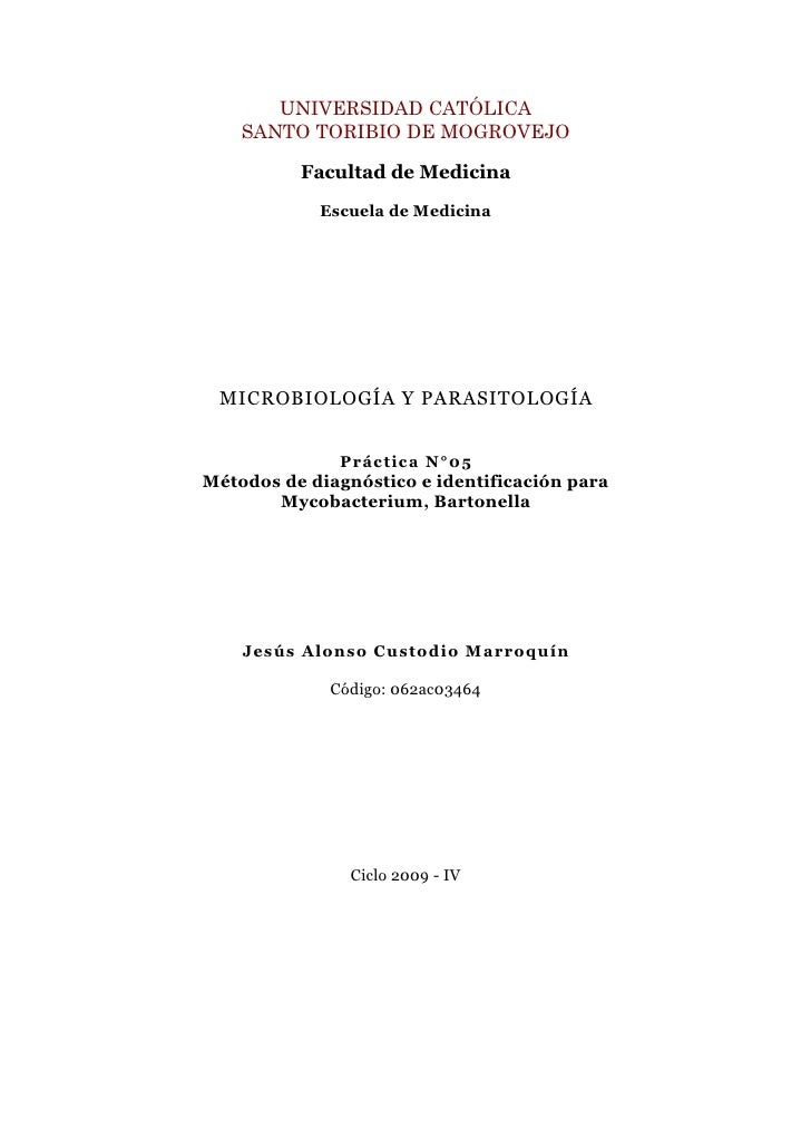 Guia V: Métodos de diagnóstico e identificación para Mycobacterium, Bartonella