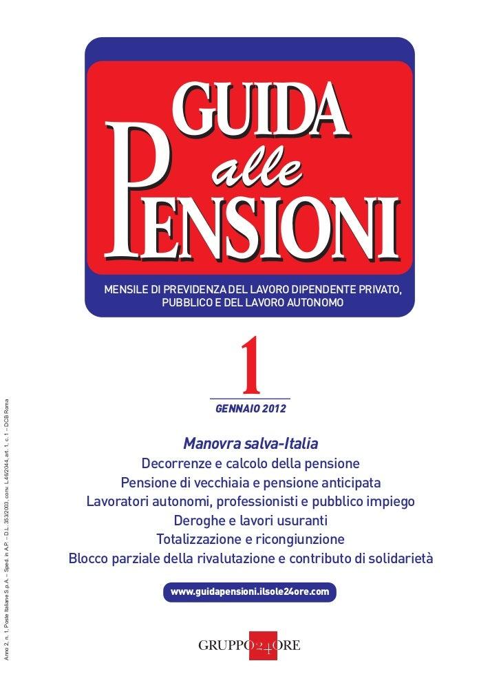 Guida alle Pensioni                                                                         SOMMARIO       IL SOLE 24 ORE ...