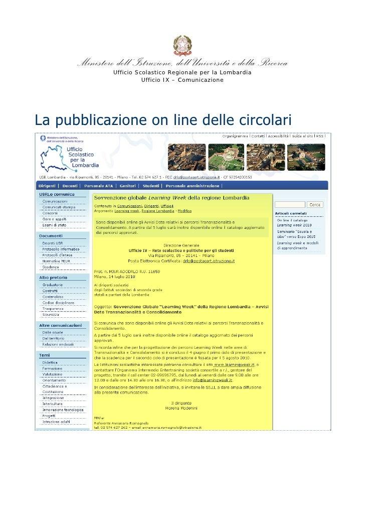 Ministero dell'Istruzione, dell'Università e della Ricerca                 Ufficio Scolastico Regionale per la Lombardia  ...