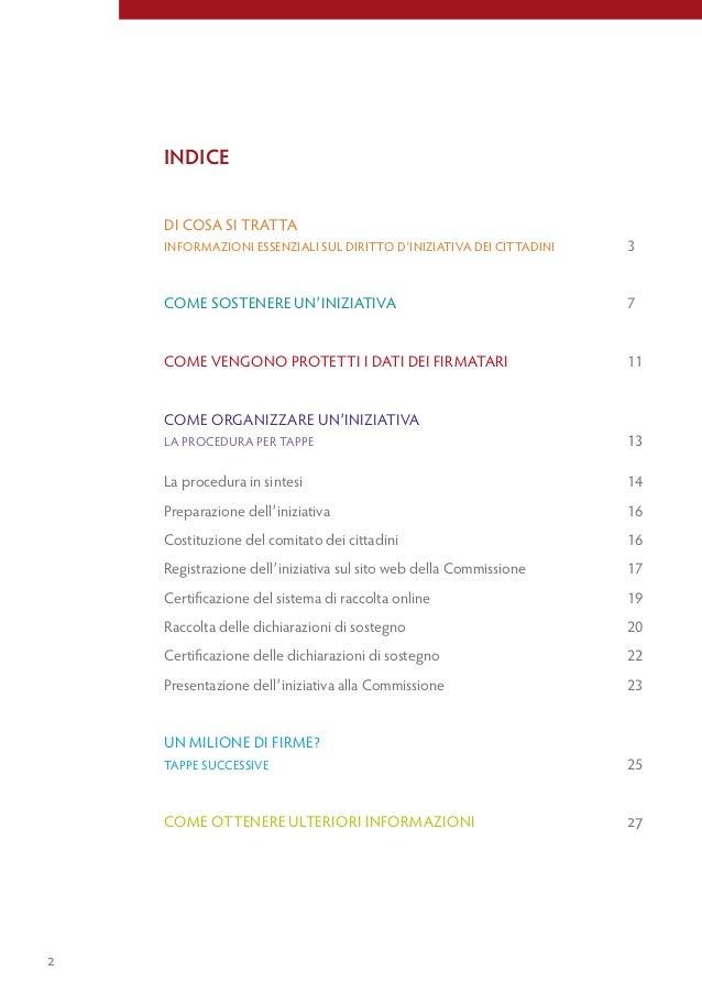 indice    Di cosa si tratta    informazioni essenziali sul Diritto D'iniziativa Dei cittaDini   3    come sostenere un'ini...