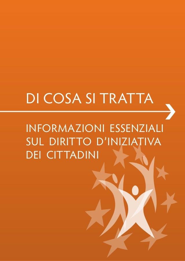 Di cosa si tratta                           ›informazioni essenzialisul Diritto D'iniziativaDei cittaDini