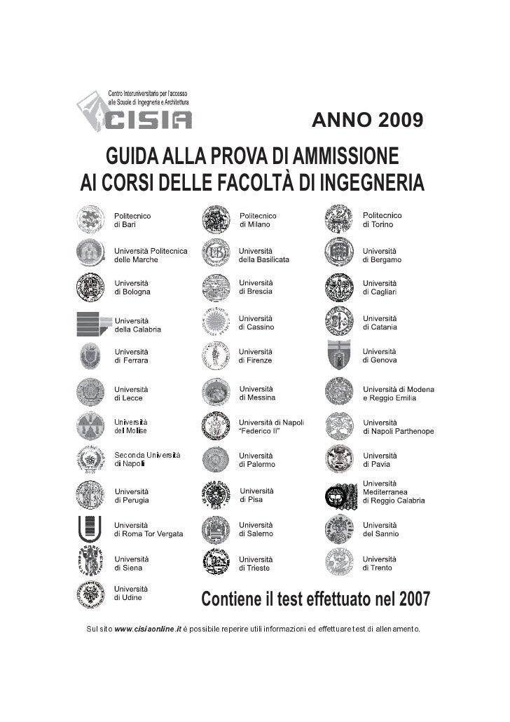 ANNO 2009   GUIDA ALLA PROVA DI AMMISSIONEAI CORSI DELLE FACOLTÀ DI INGEGNERIA        Università        del Molise        ...