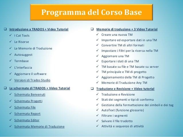 Programma del Corso Base  Introduzione a TRADOS + Video Tutorial ✓ I Cat Tools ✓ Le Risorse ✓ Le Memorie di Traduzione ✓ ...