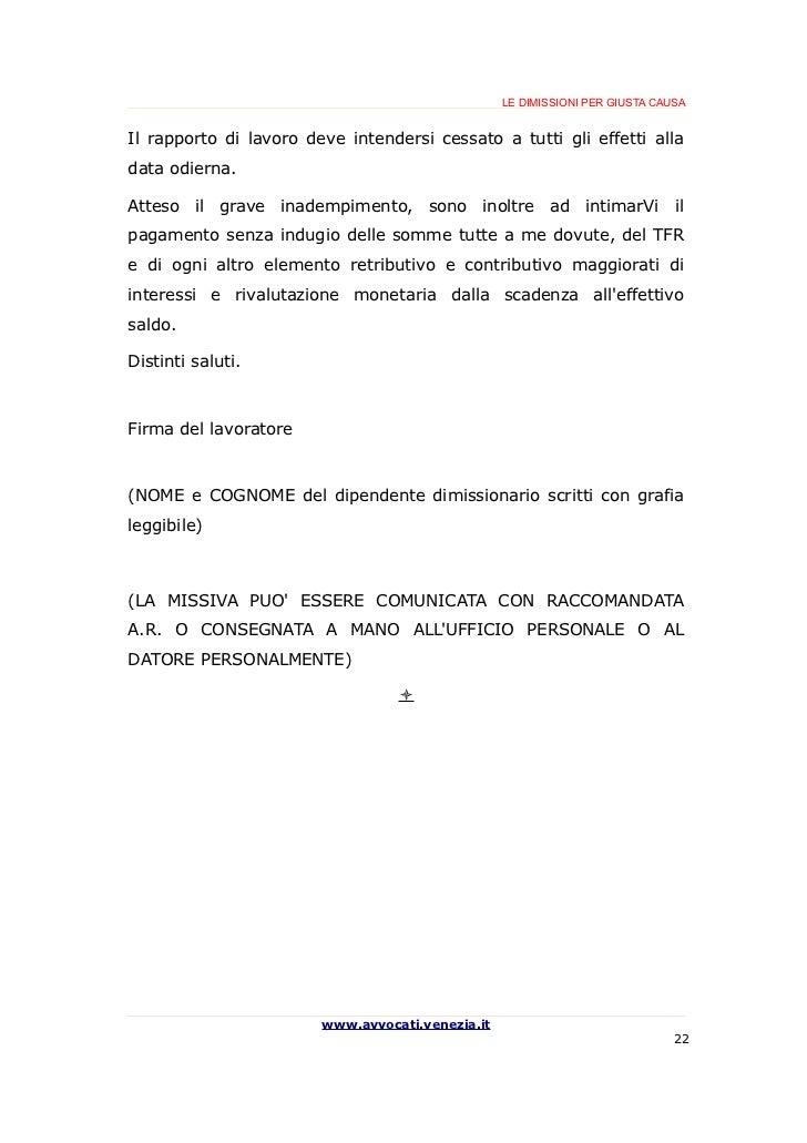 Guida breve alle dimissioni per giusta causa for Fac simile disdetta contratto di locazione da parte del locatore