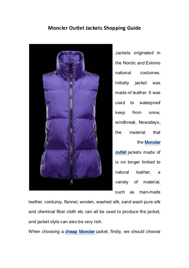 Moncler Outlet Jackets Shopping Guide