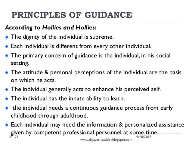 Principles of Guidance and Counselling