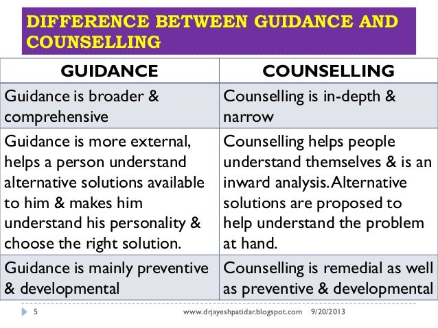 difference between counselling and other helping professions
