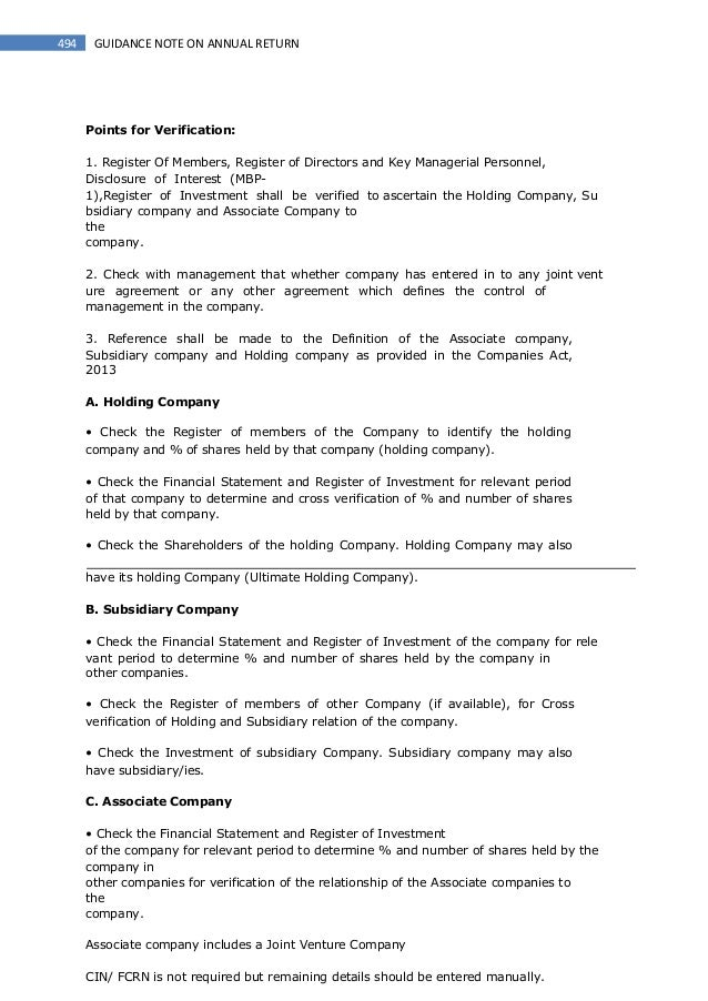 Guidance Note On Annual Return Companies Act 2013