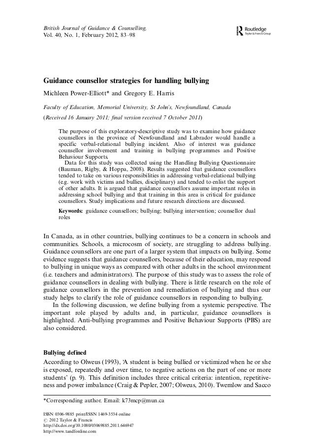 Guidance counsellor strategies for handling bullying Michleen Power-Elliott* and Gregory E. Harris Faculty of Education, M...