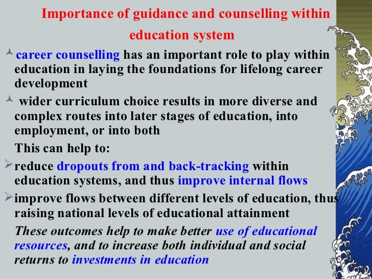 guidance and counseling essay View this essay on counseling guidance and counseling role of the the counselor interviewed became a school counselor because she loves children and feels a.