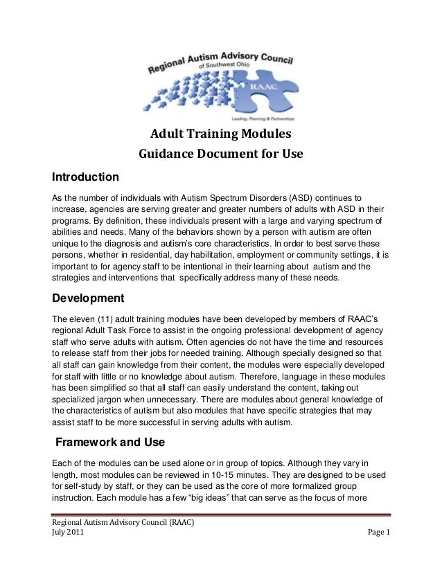 Adult Training Modules                       Guidance Document for UseIntroductionAs the number of individuals with Autism...