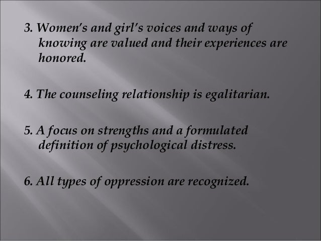 egalitarian relationship feminist therapy examples