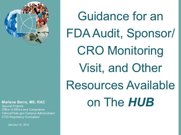 Guidance for an                                          FDA Audit, Sponsor/                                           CRO...