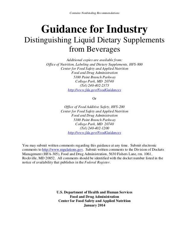 Contains Nonbinding Recommendations  Guidance for Industry Distinguishing Liquid Dietary Supplements from Beverages Additi...