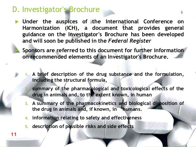 Guidance for industry content and format of investigational new drug – Investigator Brochure Template