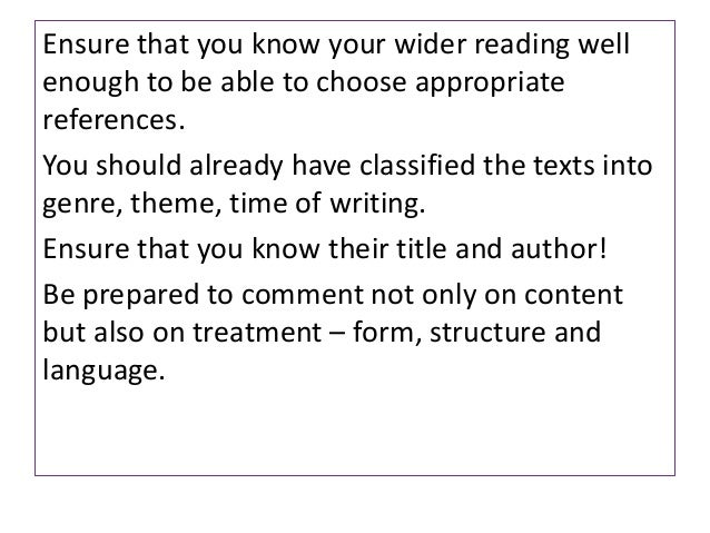 Ensure that you know your wider reading wellenough to be able to choose appropriatereferences.You should already have clas...