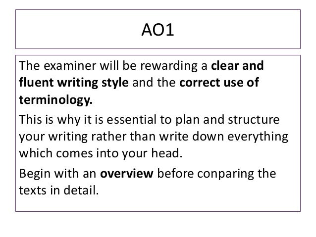 AO1The examiner will be rewarding a clear andfluent writing style and the correct use ofterminology.This is why it is esse...