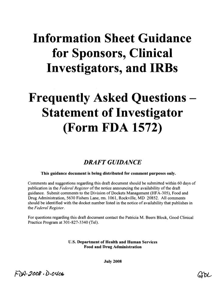 Information Sheet Guidance      for Sponsors, Clinical     Investigators, and IRBs Frequently Asked Questions -  Statement...