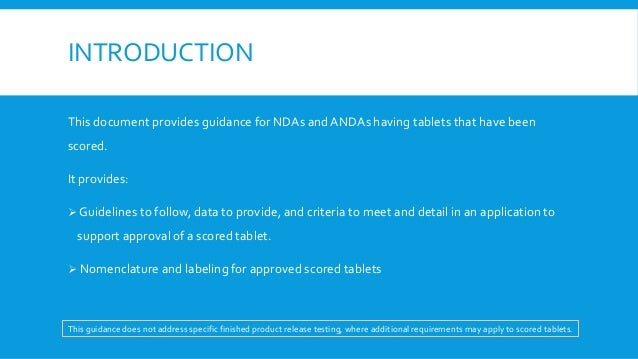 Guidance On Tablet Scoring