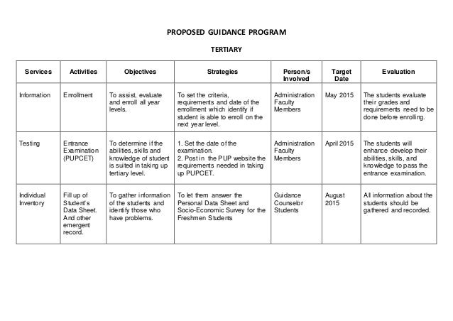 Proposed Guidance Program