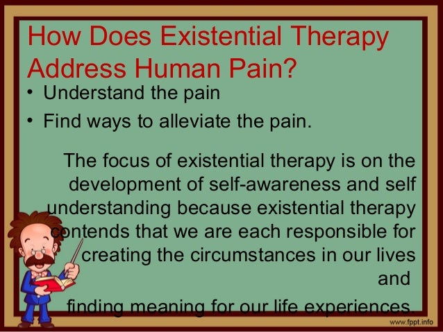 existential psychotherapy Existential psychotherapy is a form of psycho-analytical therapy like the  existential philosophy which underlies it, it is founded upon the belief that human .