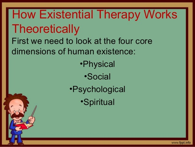 existential therapy An introduction to existential therapy will enable both experienced clinicians from other therapeutic traditions and people with a general interest in therapy to gain a foundation in key existential theory and skills by application only.