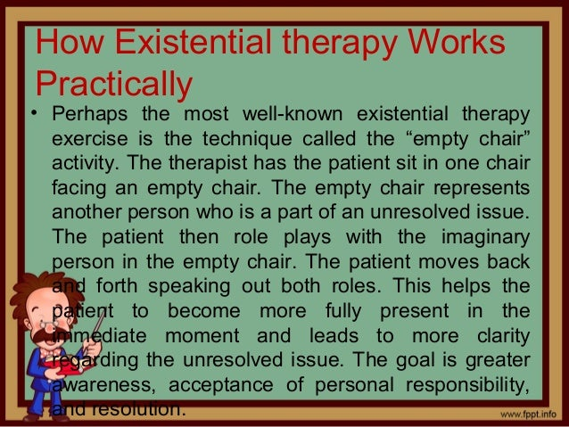 existential therapy Start studying chapter 6 - existential therapy learn vocabulary, terms, and more with flashcards, games, and other study tools.